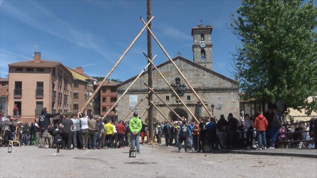 Izado del Mayo en San Leonardo (Soria). Fte: eldiasoria.es